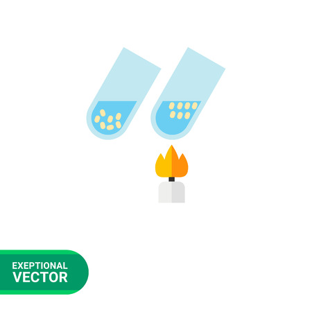 Test tubes with bacteria and viruses icon. Multicolored vector illustration of two tubes heating with fire