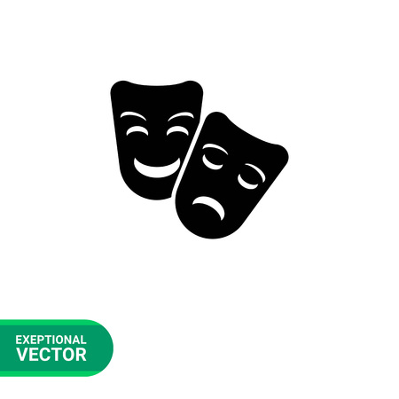 comedy: Vector icon of comedy and tragedy theater masks