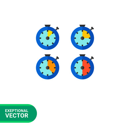 intervals: Multicolored vector icon of stopwatch with different time intervals