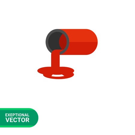 paint tin: Multicolored vector icon of tin with spilled red paint