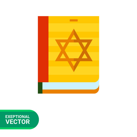 hebrew bible: Multicolored vector icon of Torah book with star of David on cover