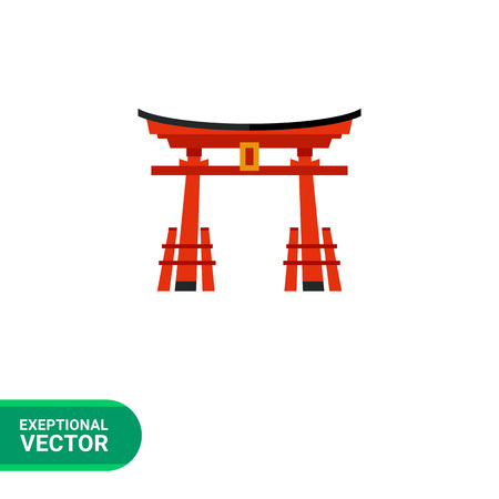 Image of traditional red Japanese gate torii with black top Vettoriali