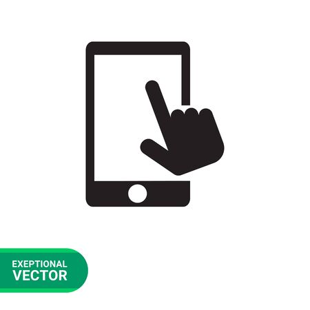 smartphone hand: Vector icon of human hand touching smartphone screen