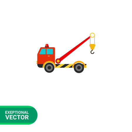 evacuating: Multicolored vector icon of tow truck with crane Illustration