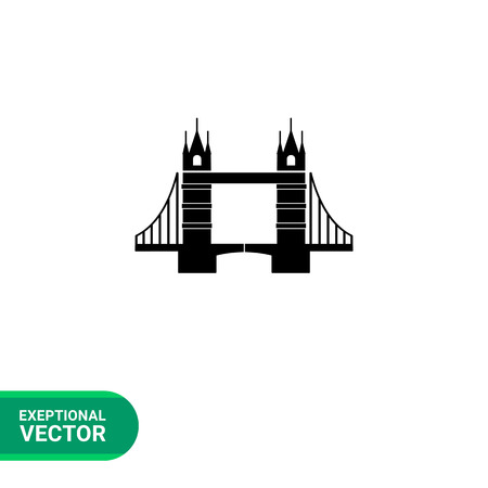 london tower bridge: London Tower Bridge silhouette monochrome vector icon