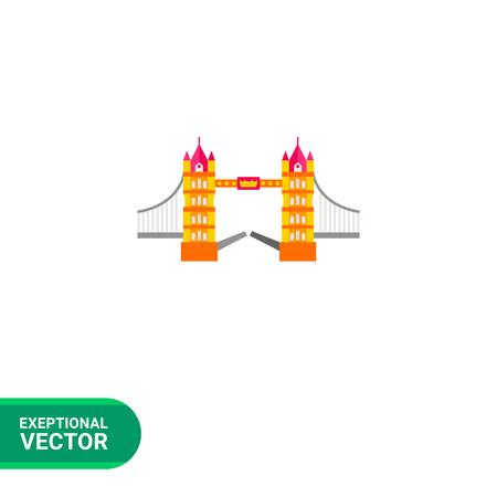 drawbridge: Tower Bridge vector icon. Multicolored illustration of famous bridge in London Illustration