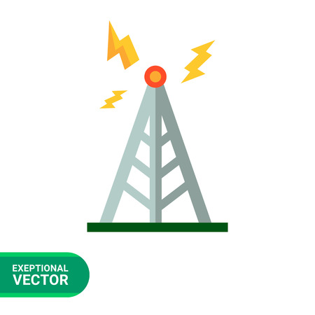 transmitting: Multicolored vector icon oftower transmitting signal