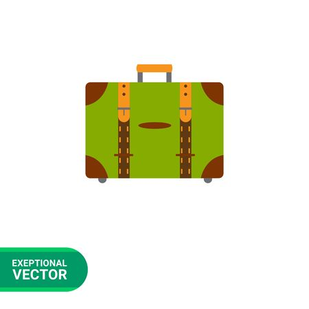 suitcase packing: Vector icon of closed leather travel suitcase
