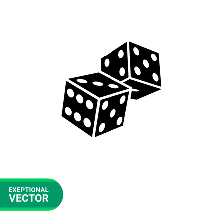 Monochrome simple icon of two overlapping dice, 3d view, with visible three, five, six, four, one black faces