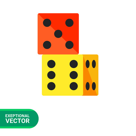 wagers: Multicolored vector icon of two dice standing on top of one another
