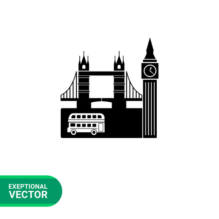 london tower bridge: Monochrome vector icon of view of London with double-decker, Big Ben and Tower Bridge