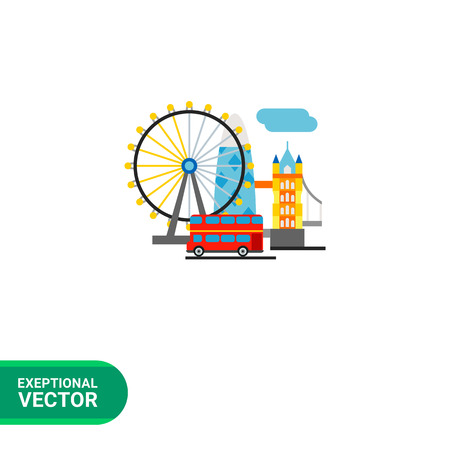 United Kingdom vector icon. Multicolored illustration of top tourist attractions in United Kingdom