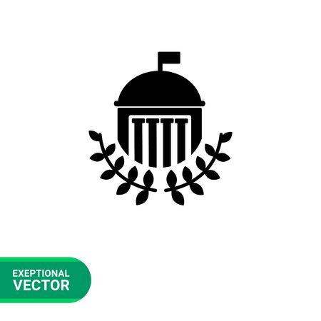 edifice: Monochrome vector icon of university building with dome, flag, columns and laurel leaves Illustration