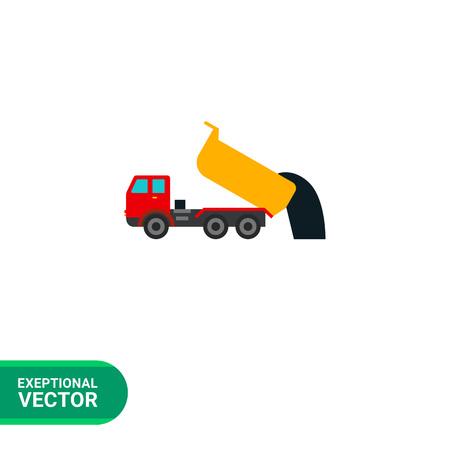 dump body: Multicolored vector icon of unloading dump truck