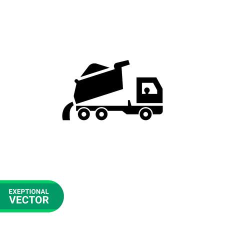 unloading: Icon of unloading dump truck Illustration
