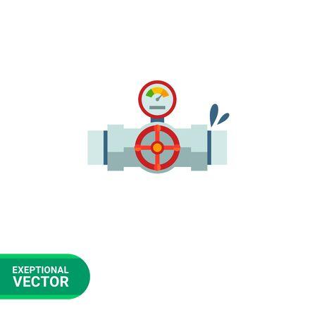 Icono de la válvula con manómetro montado en fugas de tuberías Ilustración de vector