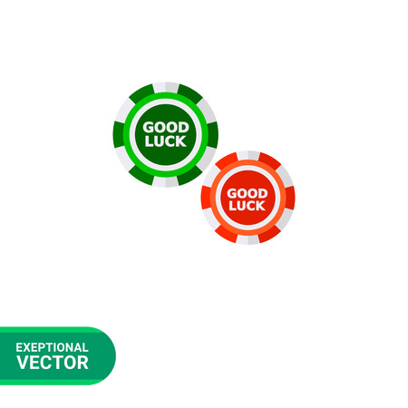 wager: Multicolored vector icon of two casino poker chips with wish of good luck