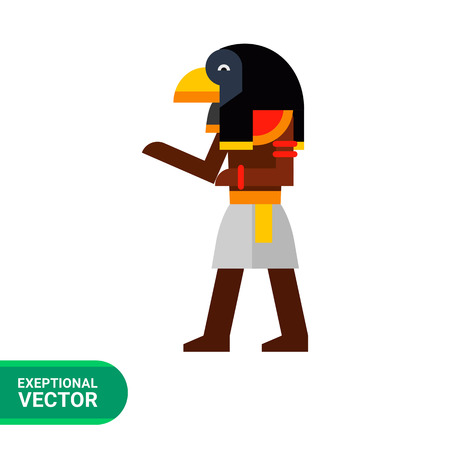 deity: Multicolored image of falcon-headed Ancient Egypt Deity Ra isolated on white background Illustration