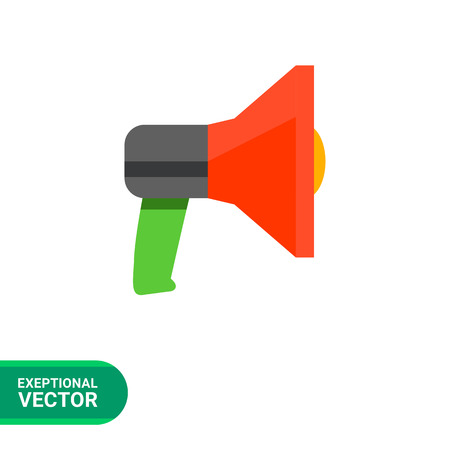 announcing: Multicolored vector icon of loudspeaker, isolated on white