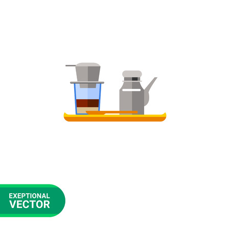 coffeepot: Icon of Vietnamese coffee set, coffeepot and cup with filter on it, on wooden tray
