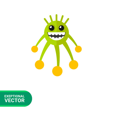 Virus cartoon character flat icon. Multicolored vector illustration of grinning bacterium Illustration