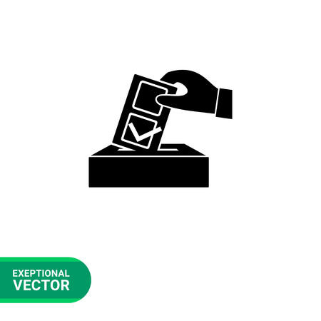 bulletin: Monochrome simple icon of voting hand with bulletin Illustration