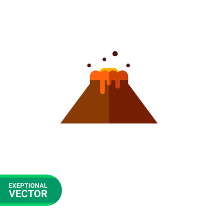 volcano mountain top exploding: Multicolored vector icon of volcano eruption and flowing lava