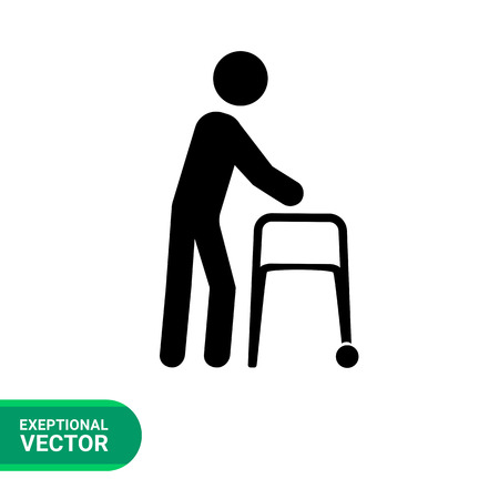 walker: Walker flat icon. Vector illustration of elderly person with walker
