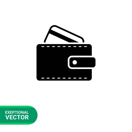 cashless payment: Icon of wallet with credit card