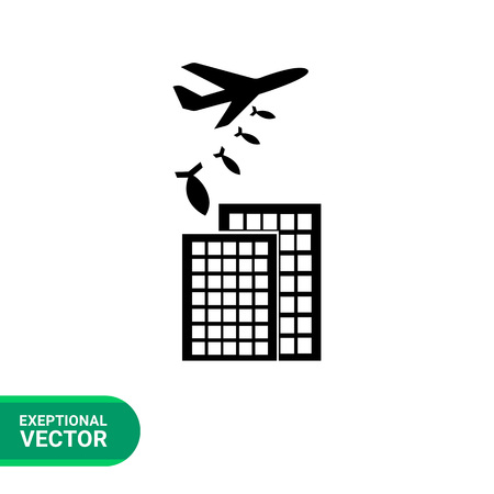 bombing: War flat icon. Vector illustration of military aircraft bombing buildings Illustration