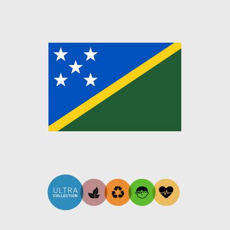 estrellas cinco puntas: Conjunto de iconos del vector con la bandera de las Islas Salomón