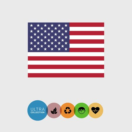 estrellas cinco puntas: Set of vector icons with flag of the United States of America Vectores