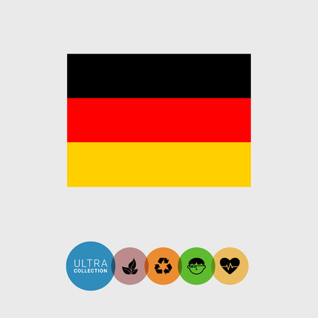 attribute: Set of vector icons with Germany flag Illustration