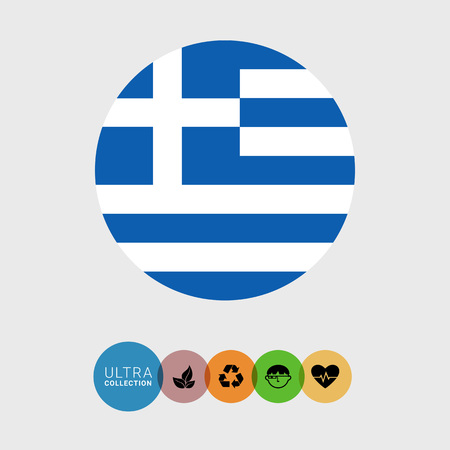 greece flag: Set of vector icons with Greece flag Illustration