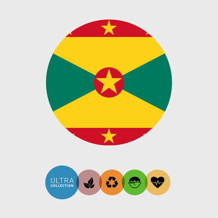 Set of vector icons with Grenada flag