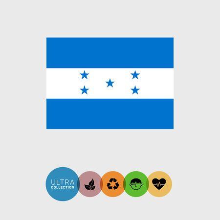 bandera de honduras: Conjunto de iconos del vector de la bandera de Honduras