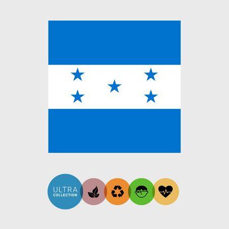 bandera honduras: Conjunto de iconos del vector de la bandera de Honduras