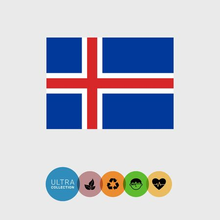 iceland: Set of vector icons with Iceland flag Illustration