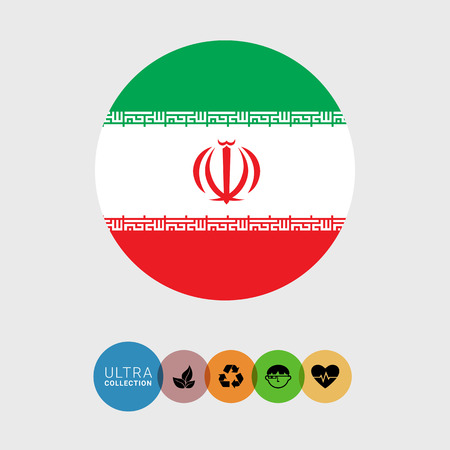 iran: Set of vector icons with Iran flag