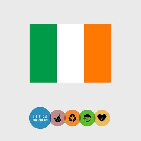 irish map: Set of vector icons with Ireland flag Illustration