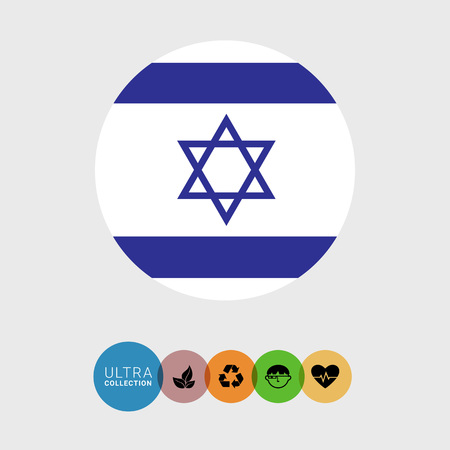 israel flag: Set of vector icons with Israel flag