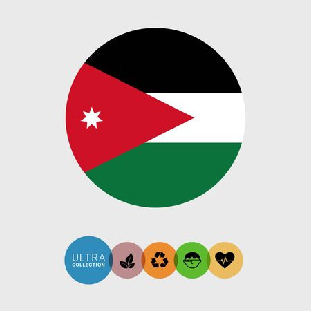 Set of vector icons with Jordan flag