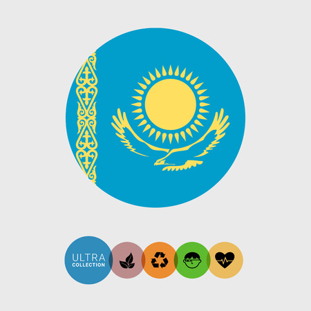 kazakhstan: Set of vector icons with Kazakhstan flag