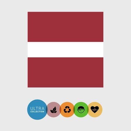 latvia flag: Set of vector icons with Latvia flag Illustration