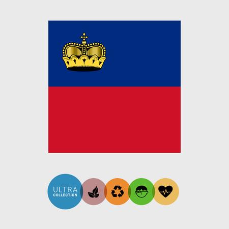 liechtenstein: Set of vector icons with Liechtenstein flag