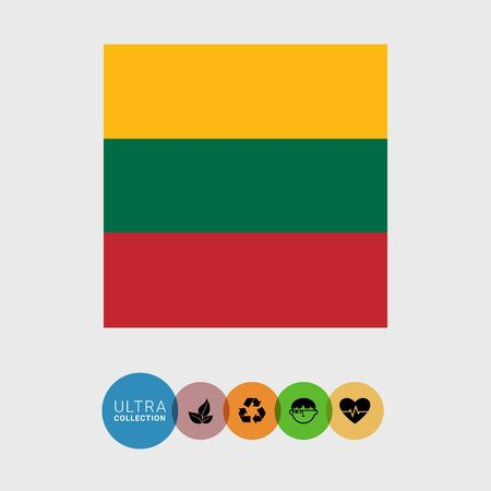 lithuania: Set of vector icons with Lithuania flag