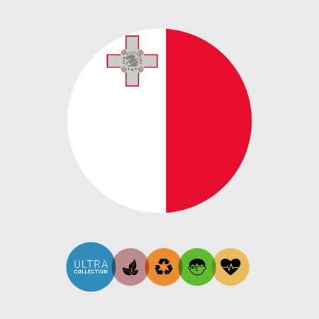 malta flag: Set of vector icons with Malta flag