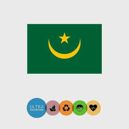 estrellas cinco puntas: Conjunto de iconos del vector con la bandera de Mauritania