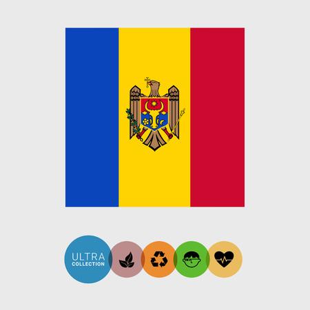 moldova: Set of vector icons with Moldova flag