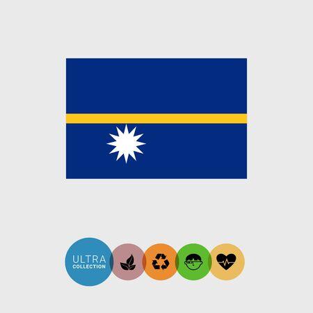 nauru: Set of vector icons with Nauru flag